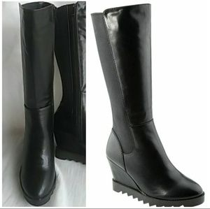 Women's Back Stretch Material Wedge Heel Boots